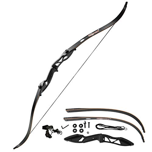 """Gonex Takedown Recurve Bow, Hunting Archery Bow Long Bow for Beginner, 56"""" Right Handed Longbow 40 45 50lb Bow for Adults with Bow String,Black"""