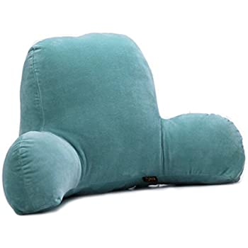 bedrest reading pillow and tv relax backrest cushion with arm coral cover for room floor sofa