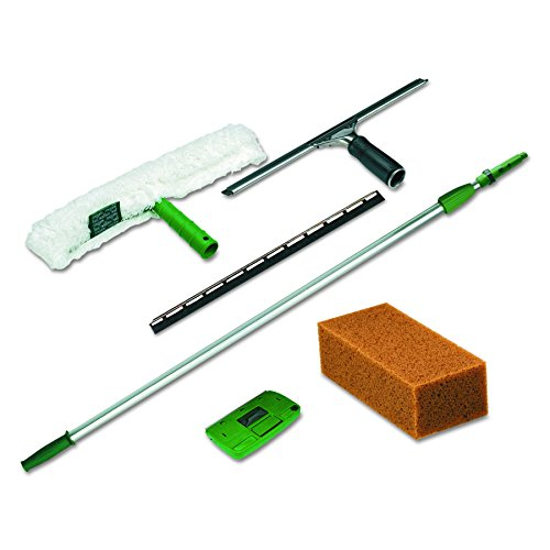 Unger PWK00 Pro Window Cleaning Kit w/8ft Pole, Scrubber, Squeegee, Scraper, (Janitorial Scrubbers)
