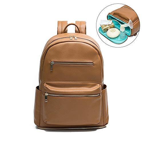 Leather Diaper bag Backpack by Mominside, Backpack for Women, Baby Bag (Brown)