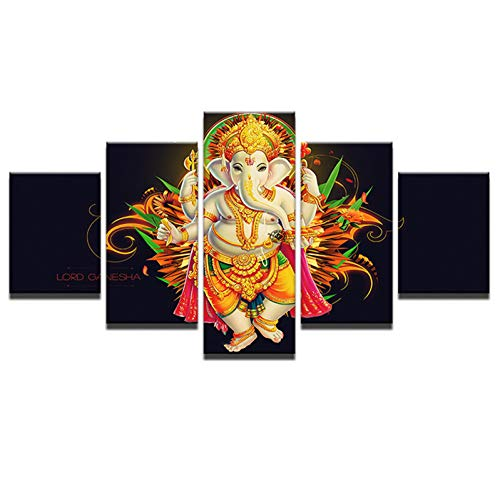 SHUII Modular Pictures for Living Room Wall Art Home Decor 5 Pieces Tibetan Ganesh God Canvas Paintings HD Printed Poster Framed 30x40cm 30x60cm 30x80cm