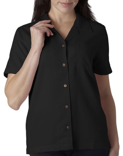 Black Button Down Camp Shirt - UltraClub Women'ss Cabana Breeze Camp Shirt - Black 8981 L