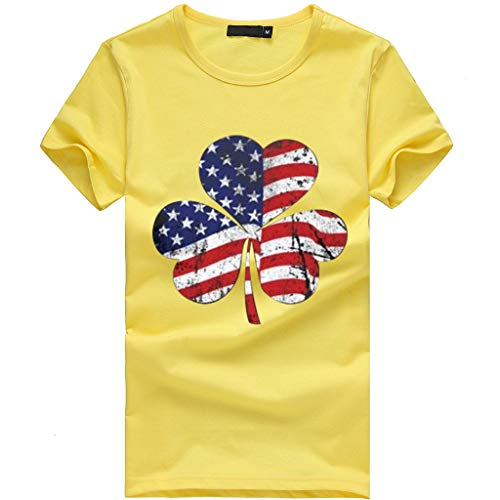 (Pongfunsy Women Summer T-Shirt Teens Girls Plus Size Tops Casual Clover Independence Day Print Short Sleeve Blouse T (S, Yellow))