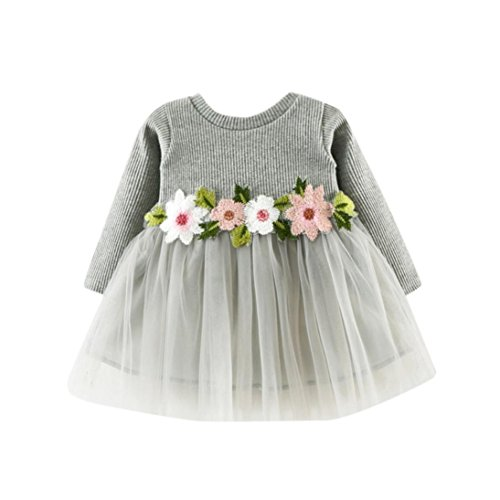 Sleeve Ruffle Bib (Digood Toddler Newborn Baby Kids Girls Autumn Full Sleeve Princess Ball Gown Flower Belt Dress Layered Tulle Tutu Dress Clothes (6-12 Months, Gray))
