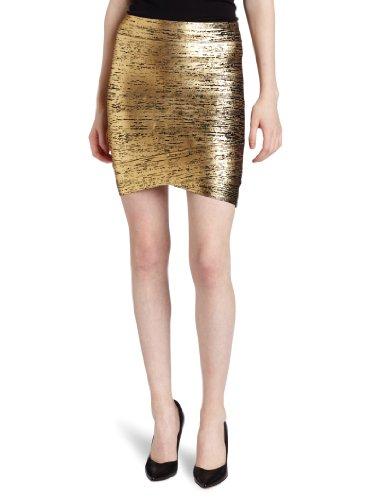 BCBGMAXAZRIA Women's Silvie Foil Print Skirt, Gold Combo, X-Small -