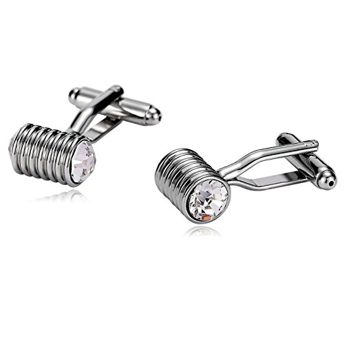 Gnzoe Cufflink Wedding-Men's Stainless Steel Round Striped Cylinder Cuff Links Silver by Gnzoe (Image #4)