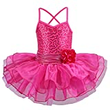 TFJH E Girls' Glitter Ballet Dresses Sleeveless Dancing Leotard Tutus HotPink XL