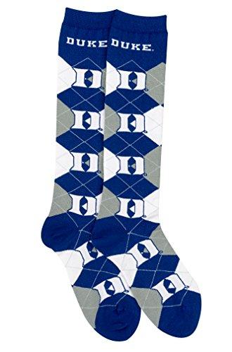 For Bare Feet NCAA Repeat Logo Argyle Knee High Socks-Medium-Duke Blue ()
