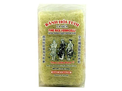 Three Ladies Fine Rice Vermicelli Banh Hoi, 12oz (3 Packs)