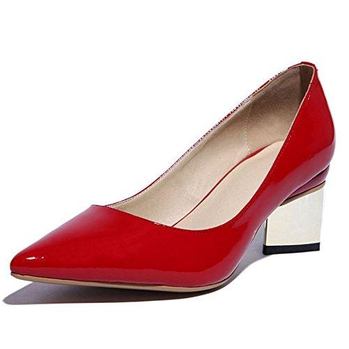 LONGFENGMA On Blockabsatz Elegant Pumps Schuhe 2016 Spitze Silber Toe Damen Slip qBaqSwC