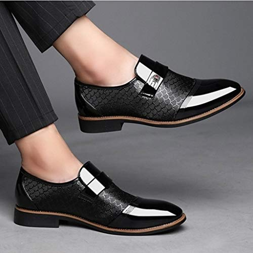 Corriee Mens Leather Oxford Shoes Male Pointed Toe Suit Shoes Flats Men's Business Shoes Dress Shoes for Wedding Black by Corriee (Image #2)