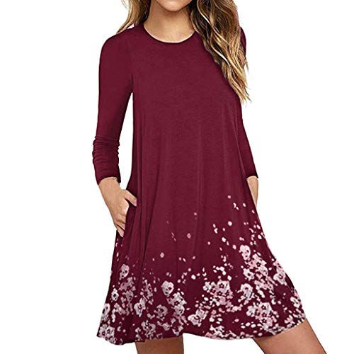 Women's Summer Casual T Shirt Dresses Pleated Loose Swing Simple Tunic Dress with Pockets Knee Length Wine -