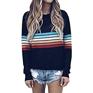 ECOWISH Women's Sweater Rainbow Colorful Striped Sweaters Long Sleeve Crew Neck Color Block Casual Pullover Blouse Tops