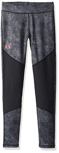 Under Armour Girls Coldgear Novelty Leggings, Black (002)/Penta Pink, Youth Large