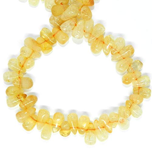 Yellow Citrine 8mm Top-Drilled Teardrop Briolette Gemstone Beads 13