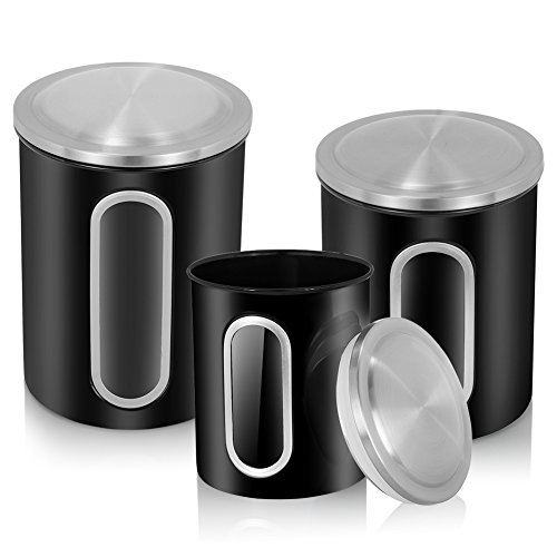 MLO E-CO Canisters Sets for Tea Coffee Sugar Food Canisters with Airtight Lids, 3-Piece Set (Black) (Coffee Tea And Sugar Sets)