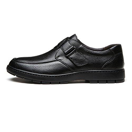 Meimei Plana Plana de Piel Genuina shoes Negro Cuero Vaca de tamaño EU Suave Suela 38 Slip Hombre de de Color Genuino on Zapatos rqr68a