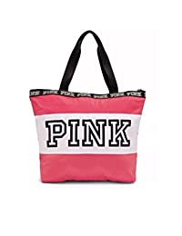 Victorias Secret Pink Neon Hot Pink White Logo Zip Tote Bag