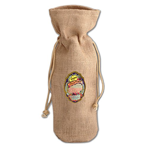 Price comparison product image Crown Hair Tonic Vintage Look Burlap Wine Drawstring Bag