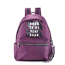 Unisex Nylon Water Resistant Lightweight Daypack Durable Travel Camping Shoulder Book Bag Casual Backpack Purple for Students