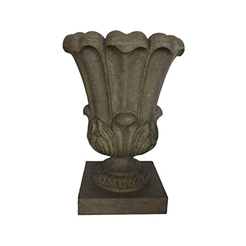 29 in. Stone Large Leaf Urn in Special Aged Granite Finish