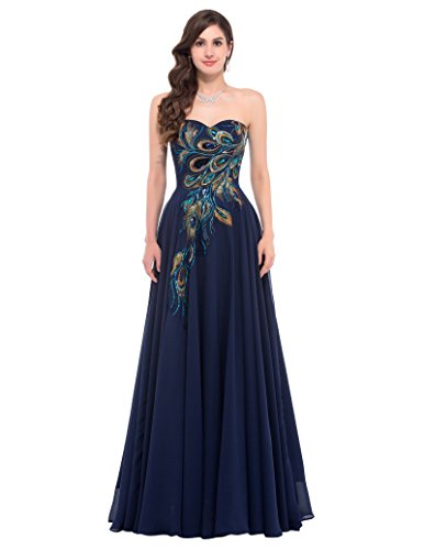 GRACE KARIN Strapless Ball Gown Evening Prom Party Dress CL675 (16, Navy Blue)