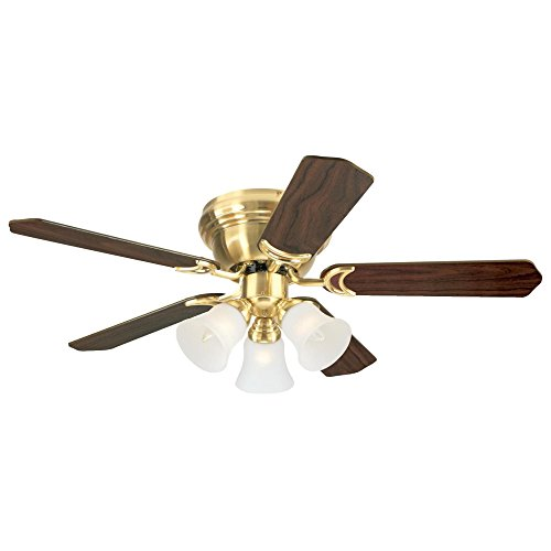 (Westinghouse Lighting 7215100 Contempra Trio 42-Inch Satin Brass Indoor Ceiling Fan, Light Kit with Frosted Glass, Includes Bulbs)