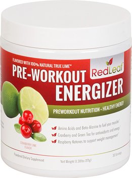 Red Leaf Pre-Workout Energizer - Supplément Sports Nutrition BCAA, bêta-alanine, la glutamine, thé vert, framboise cétones - Cranberry Lime Flavor - 30 Portions