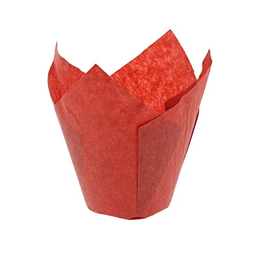 CiboWares Small Red Tulip Style Baking Cups, Package of 200