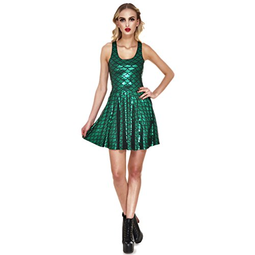 Lesubuy Green Shiny Mermaid Tail Fish Scales Women's Sleeveless Pleated Skater Dress Large -