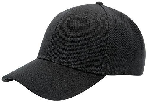Men's Plain Baseball Cap Adjustable Curved Visor Hat, BLK]()