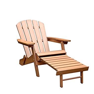 Merry Garden Faux Wood Folding Adirondack Chair with Pullout Ottoman