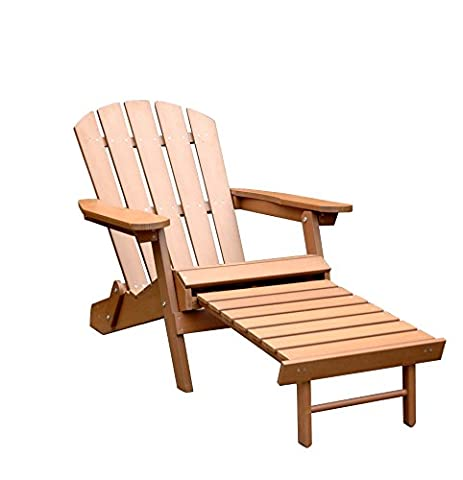 Merry Garden Faux Wood Folding Adirondack Chair with Pullout Ottoman (Adirondack Chairs With Ottoman)