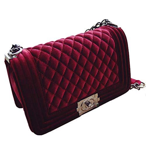(Women's Velor Shoulder Chain Bag Crossbody Purses Elegant Europian Style (Wine Red) Velvet coco channel bag clutch Quilted bag)
