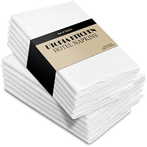 Utopia Kitchen Cloth Napkins, 12 Pack (18 x 18 Inches), White Cotton Dinner Napkin