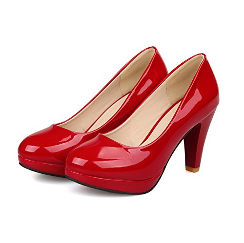 VogueZone009 Womens Round Toe High Heels PU Patent Leather Solid Pumps with Platform and Burnished Red yJkcys26v