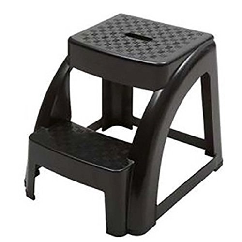 NTM 2-Step Anti-Slip Black Step Stool - 250 LB. Load Capacity - 18' L x 16' W x 15' H