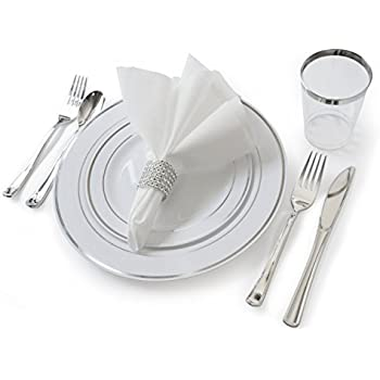 \ OCCASIONS\  Full set - Wedding Disposable Plastic Plates plastic silverware tumblers and linen feel napkins w/napkin rings (120 White and Silver)  sc 1 st  Amazon.com & Amazon.com: \