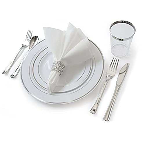 \ OCCASIONS\  Full set - Wedding Disposable Plastic Plates plastic silverware silver rimmed tumblers and linen feel napkins w/napkin rings (settings for 40 ...  sc 1 st  Amazon.com & Wedding Disposable Dinnerware: Amazon.com