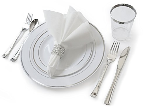 ''OCCASIONS'' Full set - Wedding Disposable Plastic Plates, plastic silverware, tumblers and linen feel napkins w/napkin rings (120, White and Silver) by OCCASIONS FINEST PLASTIC TABLEWARE