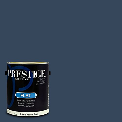 Prestige Paints E100-N-MQ5-54 Exterior Paint and Primer in One, 1-Gallon, Flat, Comparable Match of Behr Compass Blue, 1 Gallon, B58-Compass