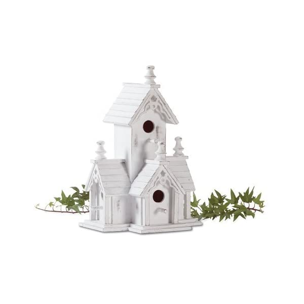 BEAUTIFUL-WHITE-VICTORIAN-BIRDHOUSE-WITH-GINGERBREAD-TRIM-AND-4-HOLES