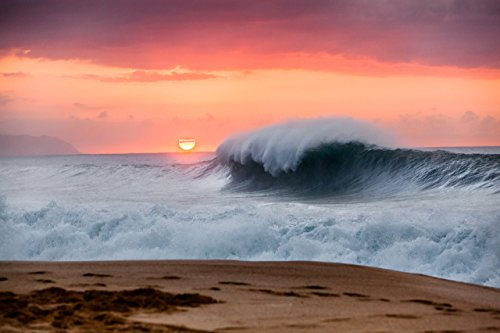 Big wave breaking under an orange sky at sunset on Keiki Beach, North Shore, O'ahu, Hawaii print picture photo photograph fine art by Mike Krzywonski Photography