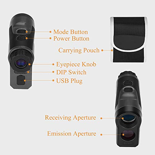 BOBLOV 1000Yards Hunting Rangefinder Speed Measure Range Finder Telescope 6X Magnification +/- 1 M Accuracy Vibration and USB Charge for Hunting Racing Archery Bow (1000yards)