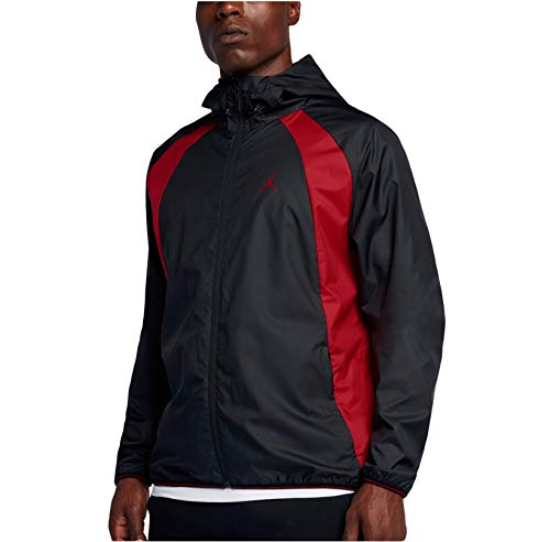 Jordan Men's Air Nike Wings Windbreaker Jacket Black/Red (X-Large)