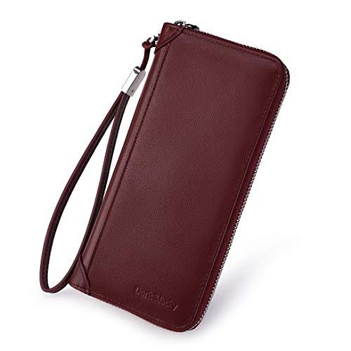 Women Leather Wallet Rfid Blocking Large Capacity Zipper Around Travel Wristlet Bags (Wine Red Nappa)