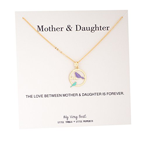 Baby Bird Necklace - My Very Best Mommy and Baby Bird Together Circle Necklace (gold plated brass_purple green birds)