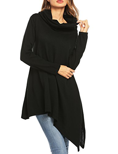 OD'lover Women's Cowl Neck Long Sleeve Flared Asymmetrical Hem Pullover Casual Loose Tunic Sweater Tops,Black,M (Asymmetrical Cowl Neck)