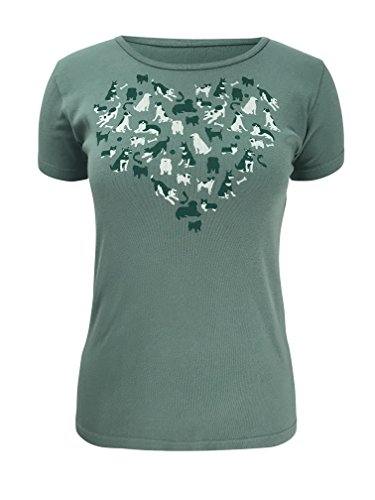 Green 3 I Love Dogs Short Sleeve T Shirt (Sage Green) - 100% Organic Cotton Womens Tshirt, Made in The USA