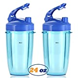 Replacement Accessories for Nutribullet 600W 900W,2 Pcs 24oz Blender Tall Cups with 2 Pcs Blue Flip Top to Go Lids